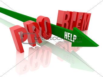 Arrow with word  Help breaks word Problem.