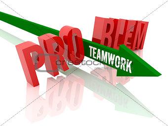 Arrow with word Teamwork breaks word Problem.