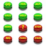 Set of 3D buttons. Red and green on white background.