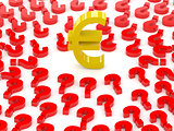 Euro sign surrounded by question marks.