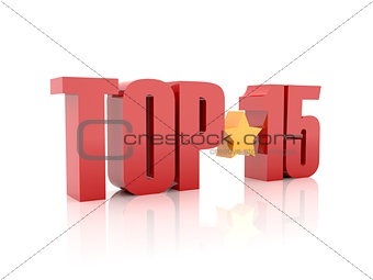 Top fifteen red word  isolated on white background.