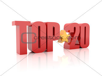 Top twenty red word  isolated on white background.