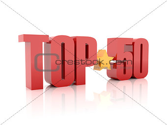 Top fifty red word  isolated on white background.