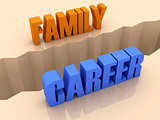 Two words FAMILY and CAREER split on sides, separation crack.