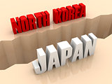 Two countries NORTH KOREA and JAPAN split on sides, separation crack.