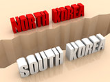 Two countries NORTH KOREA and SOUTH KOREA split on sides, separation crack.