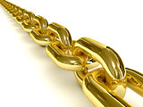 Golden chain over white background.