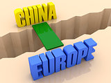 Two words CHINA and EUROPE united by bridge through separation crack.
