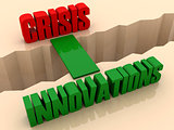 Two words CRISIS and INNOVATIONS united by bridge through separation crack.