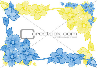 Frame from abstract blue and yellow flowers