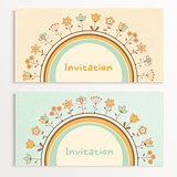 Baby invitation cards with flowers.