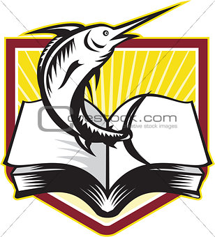 Blue Marlin Fish Jumping Book Retro