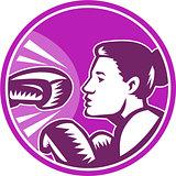 Female Boxer Punch Retro