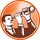 Businessman Holding Looking Telescope Woodcut