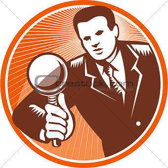 Businessman Holding Looking Magnifying Glass Woodcut
