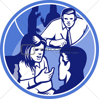 Office Worker Businesswoman Discussion Woodcut Circle