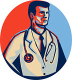 Doctor Stethoscope Standing Retro