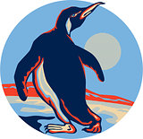Penguin Walking Moon Retro
