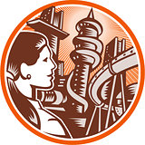 Futuristic City Woman Side Circle Woodcut