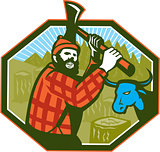 Paul Bunyan LumberJack Axe Blue Ox