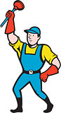 Super Plumber Wielding Plunger Cartoon