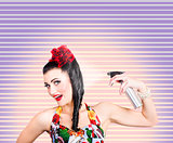 Pinup woman styling a hold with hair product