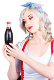 Cute pin up girl with soda bottle. Vintage cafe
