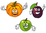 Cartoon pumpkin, plum and apple