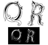 Retro capital letters Q and R