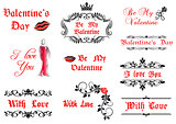 Valentine's Day calligraphic elements and symbols