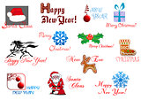 New Year and Christmas symbols
