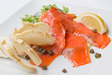 Smoked Salmon with Capers Closeup