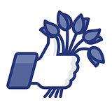 Like/Thumb Up simbol icon with bunch of flowers, vector Eps8 illustration.