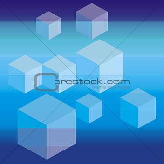 Blue background with cubes