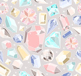 Seamless pastel diamonds pattern. Background with colorful gems
