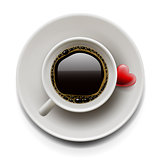 Cup of coffee with heart on plate, vector Eps10 image