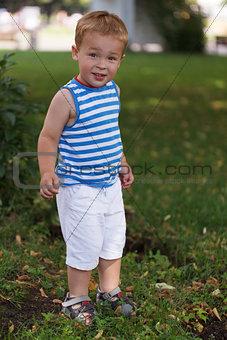 Portrait of smiling three year-old boy