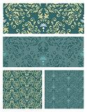 seamless pattern. damask. vector set