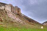 The rocky outcrop is located in the Upper Cretaceous