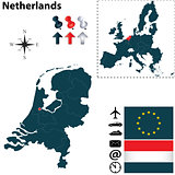 Map of Netherlands with European Union