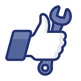 Like/Thumb Up simbol icon with wrench, vector Eps8 illustration
