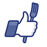 Like/Thumb Up simbol icon wiht fork, vector Eps8 illustration.