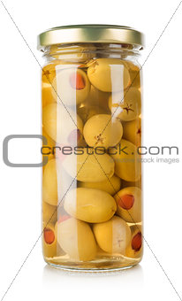 Olives in a glass jar