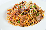 Spaghetti with Braised Lamb Closeup