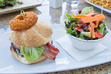 Hamburger with Onion Ring and Colorful Salad