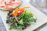 Organic Salad with Smoked Salmon Focaccia Bread