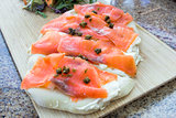 Smoked Salmon on Focaccia Bread Closeup