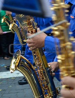 Brass Band in blue uniform performing
