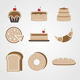 Variety of bakery color icons