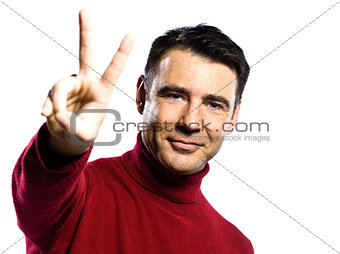 caucasian man peace sign gesture